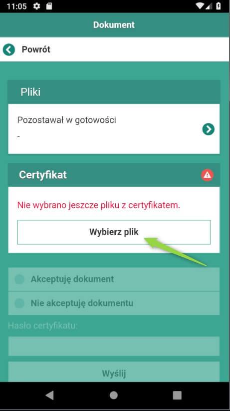 Wybierz plik z certyfikatem